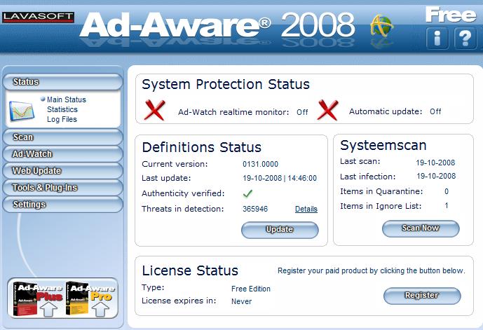 Ad-Aware 2007 Pro - предназначена для поиска и устранения шпионских.