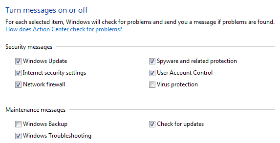 turn off messages about virus protection