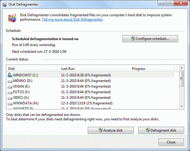 Windows 7 Disk Cleanup and Disk Defragmenting