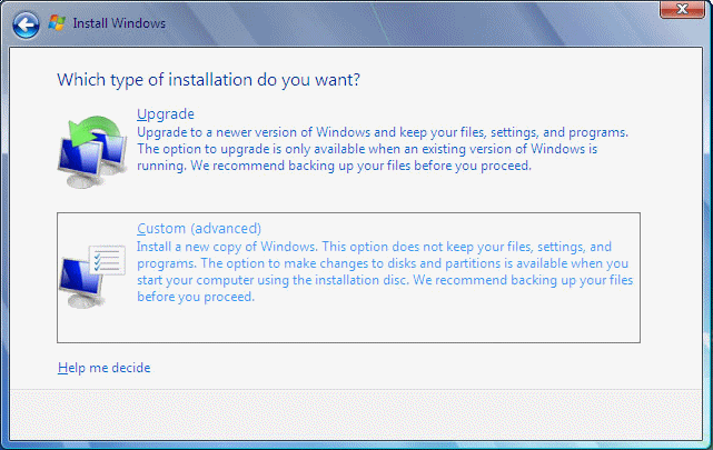installing windows 7 from recovery partition